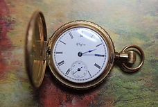 Elgin National Watch Co. - 14K Solid Yellow Gold - Ornate Full Hunter's 0 Size Case with 3 Diamonds - 15J Stem Wind and Set – Pocket Watch – (circa 1897)