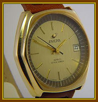 Enicar - MRO Star Jewels - Cool Mod Design - Large Six Sided case. Gold Dial and Gold Plated case. Swiss 17 Jewel Mechanical Wind Movement Wristwatch - (circa 1970s)