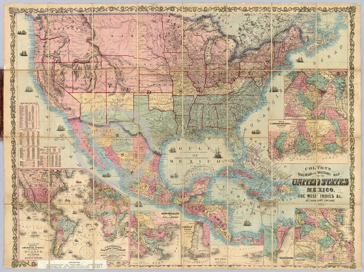 Railroad and Military - U.S. Map mid-1800s