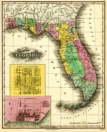 Florida Territory Map of 1831 - Includes the Seminole Indian Reserve (highlighted in green) in the middle of the Florida Territory