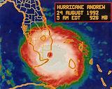 Hurricane Andrew - Landfall satellite image