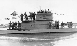 World War II German U-Boat - with Crew on the Deck