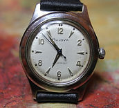 Bulova - Retro-Modern Textured Dial Design with an all Stainless Steel Case Wristwatch - (circa 1958)