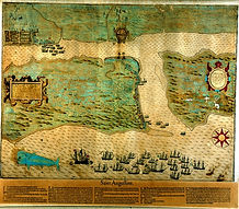 St. Augustine - Map depicting Sir Francis Drake's 1586 attack
