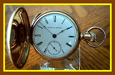 Elgin National Watch Co - H. H. Taylor - SOLID 14K GOLD - 18 Size Full Hunters Case - 15 Jewel Lever Set Pocket Watch - (circa 1884)