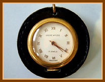 Andre Wyler - Very Unusual French Made 15 Jewel Skeleton Back Pocket Watch with an Outer Leather Rim and the Crown at the 6 o'clock Position (circa 1950s)