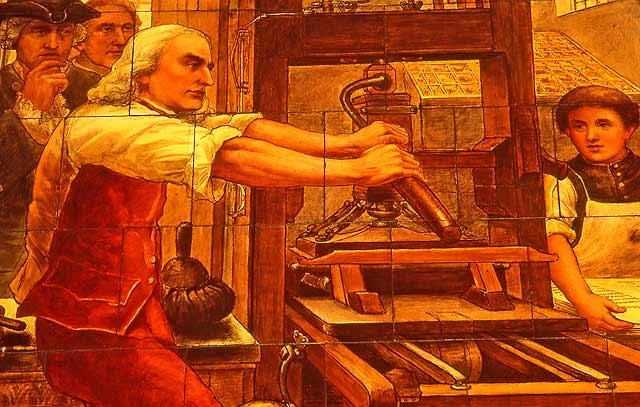 Benjamin Franklin at a printing press