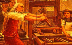 Benjamin Franklin at a printing press