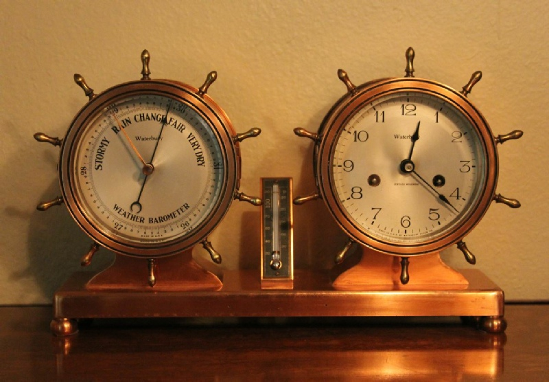 Waterbury - Copper Cased  Ship's Bell Clock - Barometer and Therometer