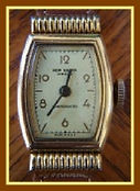 New Haven - Dollar Wristwatch with an Art Deco Inspired Case that features a Screw Thread Engraved Bezel and a Jeweled Mechanical Wind Movement (circa 1930s)
