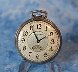 American Waltham - 12 Size - Metal Open Face - Unusual Digital Disc Seconds Window - Pocket Watch - (circa 1930)