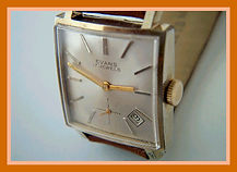 Evans - French Made, Square Case and Dial, 17 Jewels with a Very Unusually Positioned Date Feature Located Between the Four and Five oclock Positions Wristwatch - (circa 1960s)
