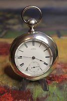 American Waltham - PS Bartlett -Silverine Engraved Open Face Case - 11 Jewels - 18 Size - Pocket Watch - (circa 1881)
