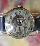 American Waltham - Transitional 10K R.G.P. Conversion Wristwatch with the Crown at 12 o'clock and an Interesting Dial - (circa 1925)