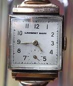 Lambert Bros. - Square 10K Gold Filled Case - 17 Jewel Hafis Watch Company Mechanical Wind Movement wristwatch - (circa 1940s)