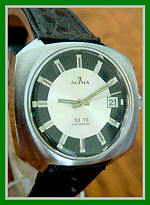 Alpha - 17 Jewel Retro Modern Space Age Design, Two-Tone Black and Green Dial, with a European Market ETA Caliber 3763 Movement - Wristwatch - (circa 1960s)