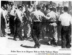 Police Move in to Disperse Mob as Sit-In Violence Flares - Ax Handle Saturday - Jacksonville - 1960