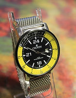 Croton - Black/Yellow Dial - All Stainless Steel - Mesh Bracelet - Date at 3 o'clock - Model: CN307148 Wristwatch (circa 2010)