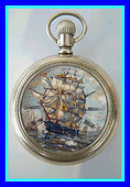 Elgin National Watch Co. - Beautiful Customized Clipper Ship under full sail designed dial - 18 Size - Stem Wind and Set – Pocket Watch - (circa 1895)