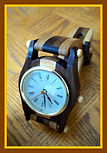 Wooden Wristwatch Clock – Hand-Made in Ohio by an Amish Woodworker - (circa 1990s)