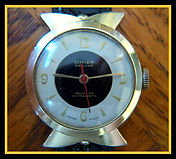 Cimier - Atomic Era Unique Fanned and Flared Lugs with a Two Toned Bulls Eye Dooms Day Dial Wristwatch - (circa 1950s)