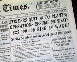 Great Flint Sit-Down Strike (1937-38) - Strikers Quit Auto Plants - Operations to Resume
