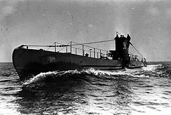 World War II German U-Boat surfaced in open seas
