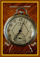 Illinois - Art Deco 14K GF Open Face Case - Double Roller 17 Jewel Movement - Pocket Watch - (circa 1934)