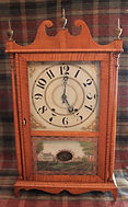 American Clock Company - Wooden Works - Large Tiger Maple Case - Scroll and Pillar Clock - (Circa 1840s)