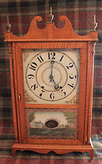 American Clock Company - Wooden Works - Large and Stunning Tiger Maple Case - Scroll and Pillar Clock  -  (Circa 1840s)