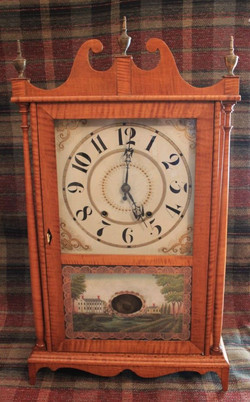 American Clock Co. - Wooden Works and Tiger Maple Case (Circa 1840s)