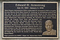 Edward H. Armstrong Monument plaque - finally placed after 82 years of obscurity.