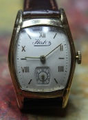 Hafis - Gold Plated Tonneau Case with a Very White Dial and Roman Numerals - 17 Jewels Mechanical Wind Movement wristwatch - (circa 1940s)