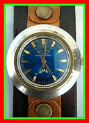 TimeTone - Nine Faceted Crystal and Iridescent Dark Blue Dial With a Unique Perpetually Moving Psychedelic Seconds Disc Wristwatch - (circa 1960s)