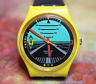 Swatch - Yellow Case - Navigation Themed Dial - 7324-P - Swiss Made - 646 - (circa late 1980s)
