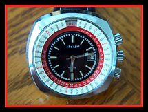 Arcadis - Huge Calendar with Black, Red and White Dial - 2 Rotating Bezels Wristwatch - (circa 1970s)
