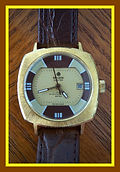 Basis, Hunter - Curious Blend of Brown, Cream and Gold Coloration for the Dial Design with 17 Jewels Wristwatch - (circa 1970s)