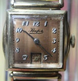 Hafis - Beautiful Copper Dial - Square Drivers Case - 7 Jewels Mechanical Wind Movement wristwatch - (circa 1930s)
