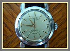 Accro -  Enormous Beefy Lugs, All Stainless Steel, Retro-Modern Design, 17 Jewel Mechanical Wind Wristwatch - (circa 1950s)