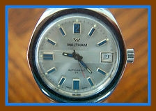 Waltham - Beautiful Silver Tone Dial with Attractive Aqua Colored Raised Hour Markers, Automatic with 17 Jewels Wristwatch - (circa 1970s)
