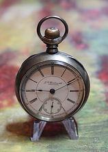 J.K. Laudermilch, Lebanon, PA -(Illinois Watch Company Model 6 Movement) - Private Label - 15 Jewels - 18 Size - Coin Silver Open Face Case Pocket Watch -(circa 1890s)