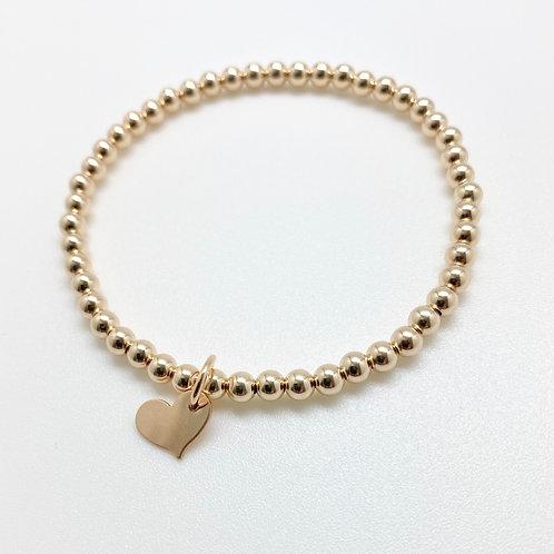 Small Heart Charm  4mm Bracelet