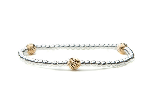 Sterling Silver Bracelet with Gold Fancy Accents