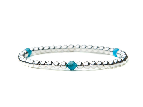 Sterling Silver Bracelet with Blue Apatite