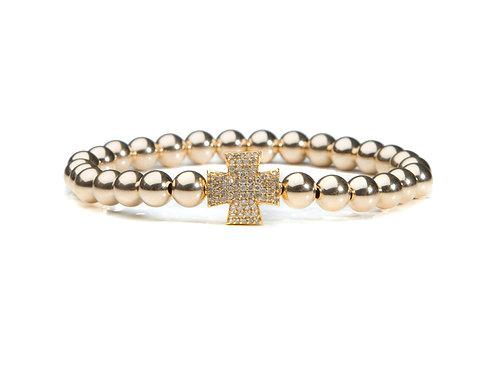 14kt gold filled bracelet with diamond cross