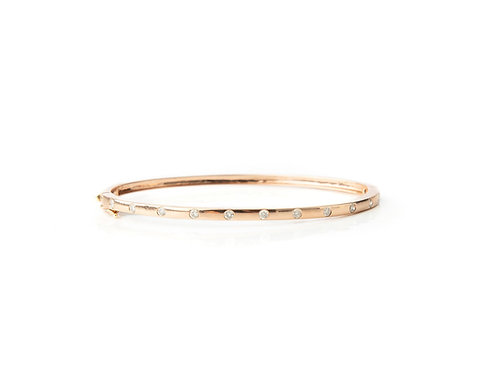 Modern 14k Rose Gold and Diamond Bangle
