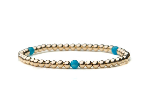 14kt gold filled 4mm bead bracelet with Blue Apatite