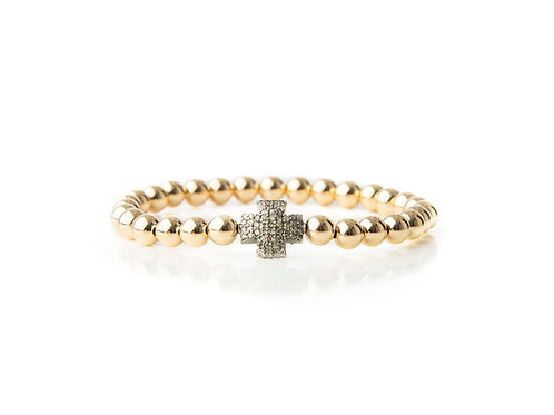 Large Silver Diamond Cross Bracelet
