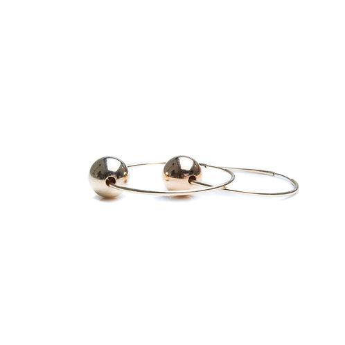 Gold Hoop with Bead Earrings