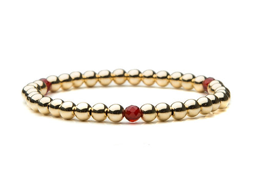 14kt gold filled 5mm bracelet with Vintage Garnets